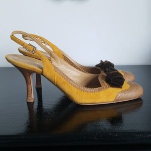Valentino suede bow slingback heels 39